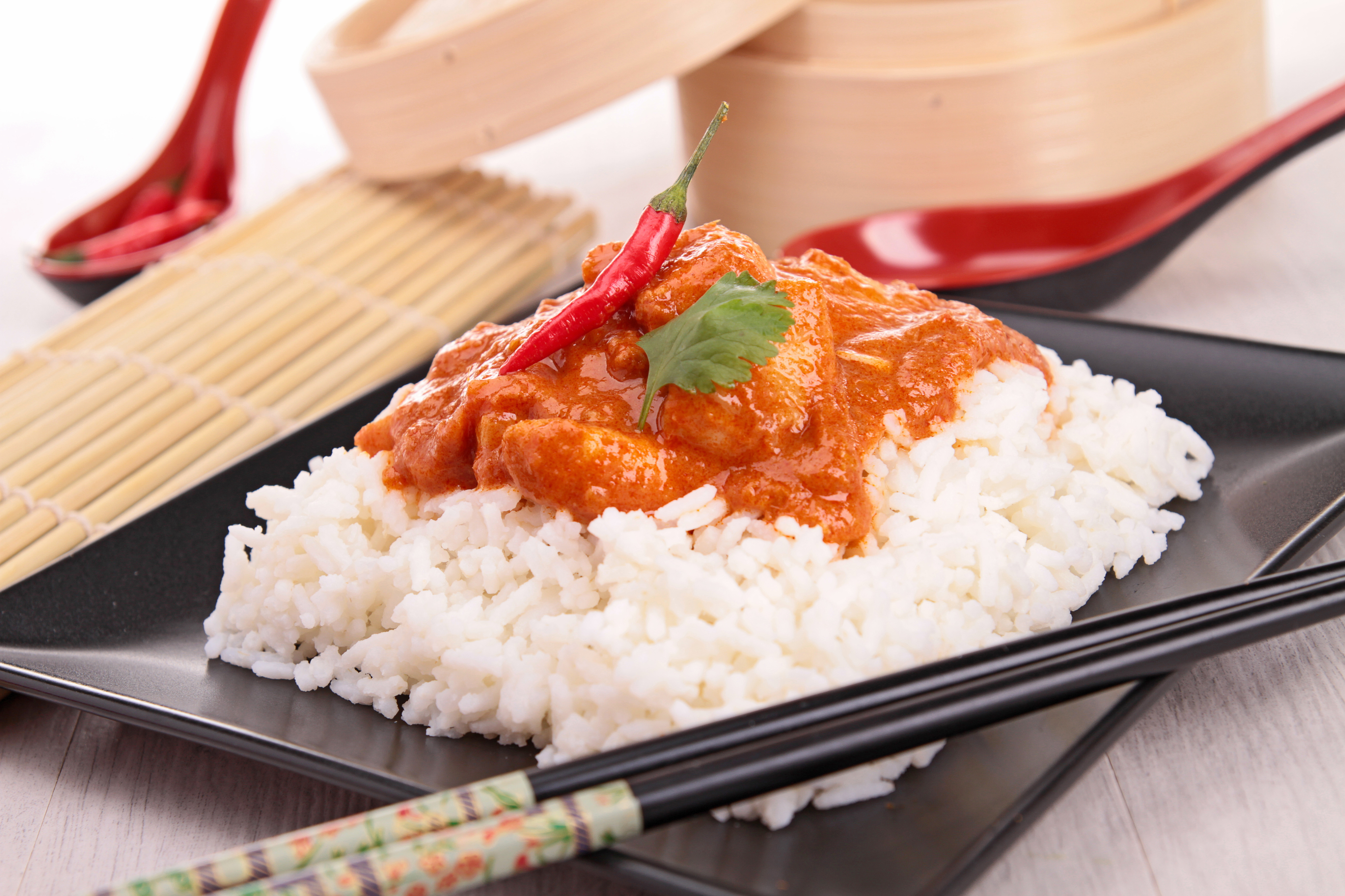 rice with red curry meat